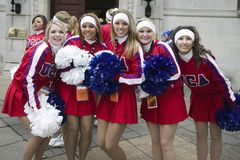 American Cheerleaders at London Parade. US American Cheerleaders at the London Parade, a New Years Day parade in Central London royalty free stock image