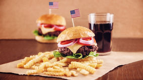 American Cheese Burger with French Fries and Cola Stock Photography