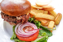 American cheese burger with Golden French fries Stock Image