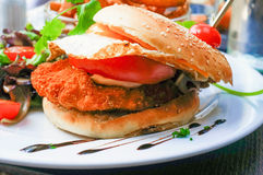 American cheese chicken burger Stock Image