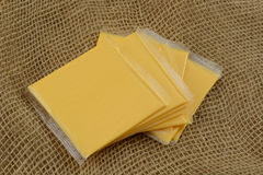 American cheese slices in plastic Royalty Free Stock Image
