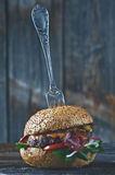 American cheeseburger with cheddar cheese with bacon and spicy s Royalty Free Stock Image