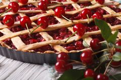American cherry pie close up on the table. horizontal Royalty Free Stock Photos