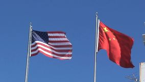 American and chinees flag in San Francisco stock footage