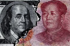 American Currency Dollar Money and China Chinese Paper Cracked S Royalty Free Stock Photos