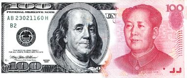 American Currency Dollar Money and China Chinese Paper Stock Images