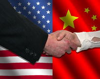 American and Chinese handshake Royalty Free Stock Photography