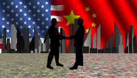 American chinese meeting with skyline currency Stock Images