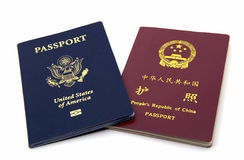 American and Chinese Passports. The front cover view of American and Chinese Passports Royalty Free Stock Photography
