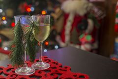 American Christmas placemat with two glasses of wine-2 Stock Images