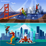 American Cities Compositions Set Stock Image