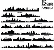 American cities skyline set. American cities skyline vector set Royalty Free Stock Image