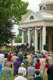 American citizens at Independence Day. Audience watching 76 new American citizens at Independence Day Naturalization Ceremony on July 4, 2005 at Thomas Jefferson Stock Photos