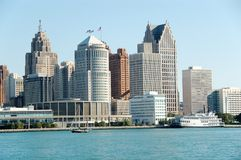American city skyline waterfront in daytime. Detroit skyline and waterfront as seen from Windsor, Ontario royalty free stock photography