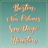 American city vector lettering. Typography, USA - Boston, New Orleans, San Diego, Houston on retro striped blue background. USA ci Royalty Free Stock Photography