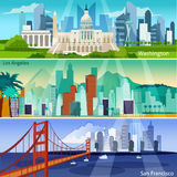 American Cityscapes Banners Set Stock Image
