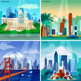 American Cityscapes Concept Icons Set Stock Photography