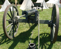 American civil war cannon. With military tents in background Stock Photography