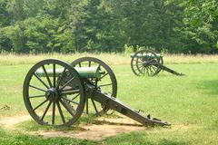 American Civil War cannon. Two American Civil War cannon on Stones River National Battlefield, Tennessee, U.S.A Royalty Free Stock Photos