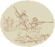 American civil war fighters. Vector illustration of American confederate soldiers fighting during the civil war Royalty Free Stock Photo