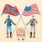 American Civil War illustration - southern and. Northern soldiers in uniform, holding flags and rifles. vector Stock Photos