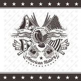 American civil war military background coat of arms with eagle flags and weapons Stock Photo