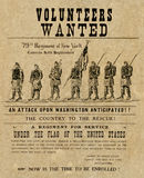American civil war poster. Depicting the 79th regiment Royalty Free Stock Image