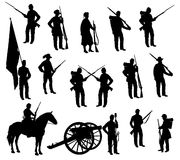 American Civil War Soldiers Silhouettes Royalty Free Stock Photography