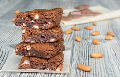 American classic brownies with almonds Royalty Free Stock Photo