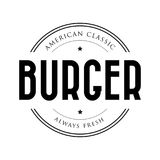 American Classic Burger vintage stamp Royalty Free Stock Photography