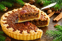 American classic cake with pecans Royalty Free Stock Photos