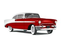 American Classic Car. 3D render of a american classic car over a white background Royalty Free Stock Photos