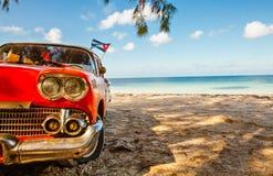 American classic car on the beach Cayo Jutias Royalty Free Stock Photo