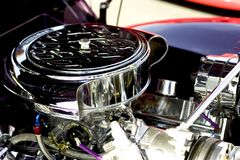American Classic Car Engine. Chrome engine of classic car at a muscle car show stock photography