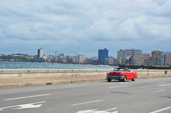 American classic car at Malecon in Havana, Cuba Stock Photos