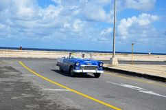 American classic car at Malecon in Havana, Cuba Royalty Free Stock Photos