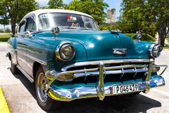 American classic car parked in Trinidad. American blue classic car parked in Trinidad Royalty Free Stock Images
