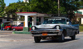 American classic car on the road. In cuba havana Royalty Free Stock Images