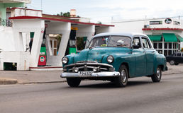 American classic car on the road in havana Royalty Free Stock Photos