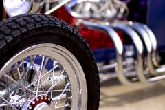 American Classic Car Show. Close up of spoke wheel on american classic hot rod car stock photography