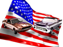 American classic cars. Classic cars, a Ford Mustang and a Chevrolet Bel-Air, in the foreground of an USA flag Stock Images