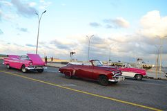 American classic cars at Malecon in Havana, Cuba Stock Photos