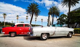 American classic cars on the promenade in Havana. American classic cars on the promenade malecon in Havana Royalty Free Stock Photo