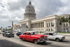 American classic cars on the street in Havana. Colorful vintage american cars in a street of Old Havana. Photo taken on: March 2017 royalty free stock image