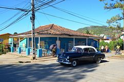 American classic cars in Vinales, Cuba Royalty Free Stock Photo
