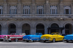 American classic convertible cars parked lined up in Havana Cuba - Serie Kuba Reportage Stock Images