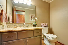 American Classic Half Bathroom With Vanity Cabinet And A Toilet Royalty  Free Stock Photo