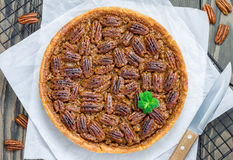 American classic homemade pecan pie Stock Photos