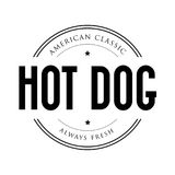 American Classic Hot Dog vintage stamp Stock Photo
