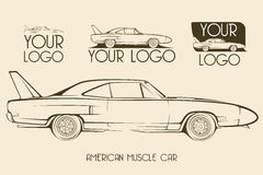 American classic muscle car, silhouettes, logo Stock Image